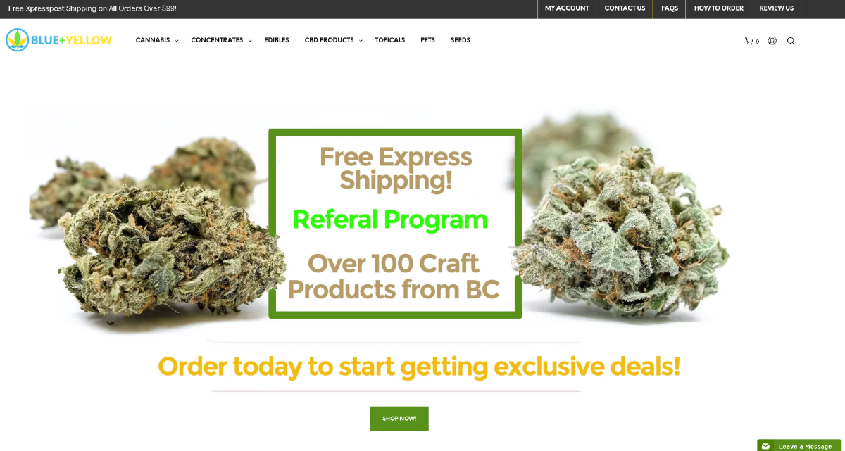 Screenshot of the Blue Plus Yellow MOM Dispensary website. The main image here is weed clumps to the left and right and in the center, a box with text stating three reasons to shop here. Free express shipping, a referral programs and 100+ products from BC.
