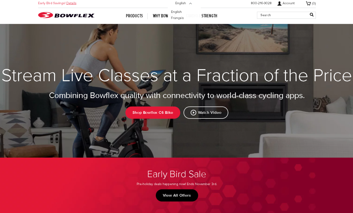 This is a screenshot of the Bowflex Canada website showing a woman on a stationery bike in front of a TV streaming live fitness classes using the Bowflex cycling apps.