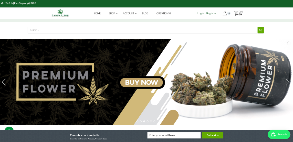Screenshot of the Cannibismo website showing a large photo of their premium flower