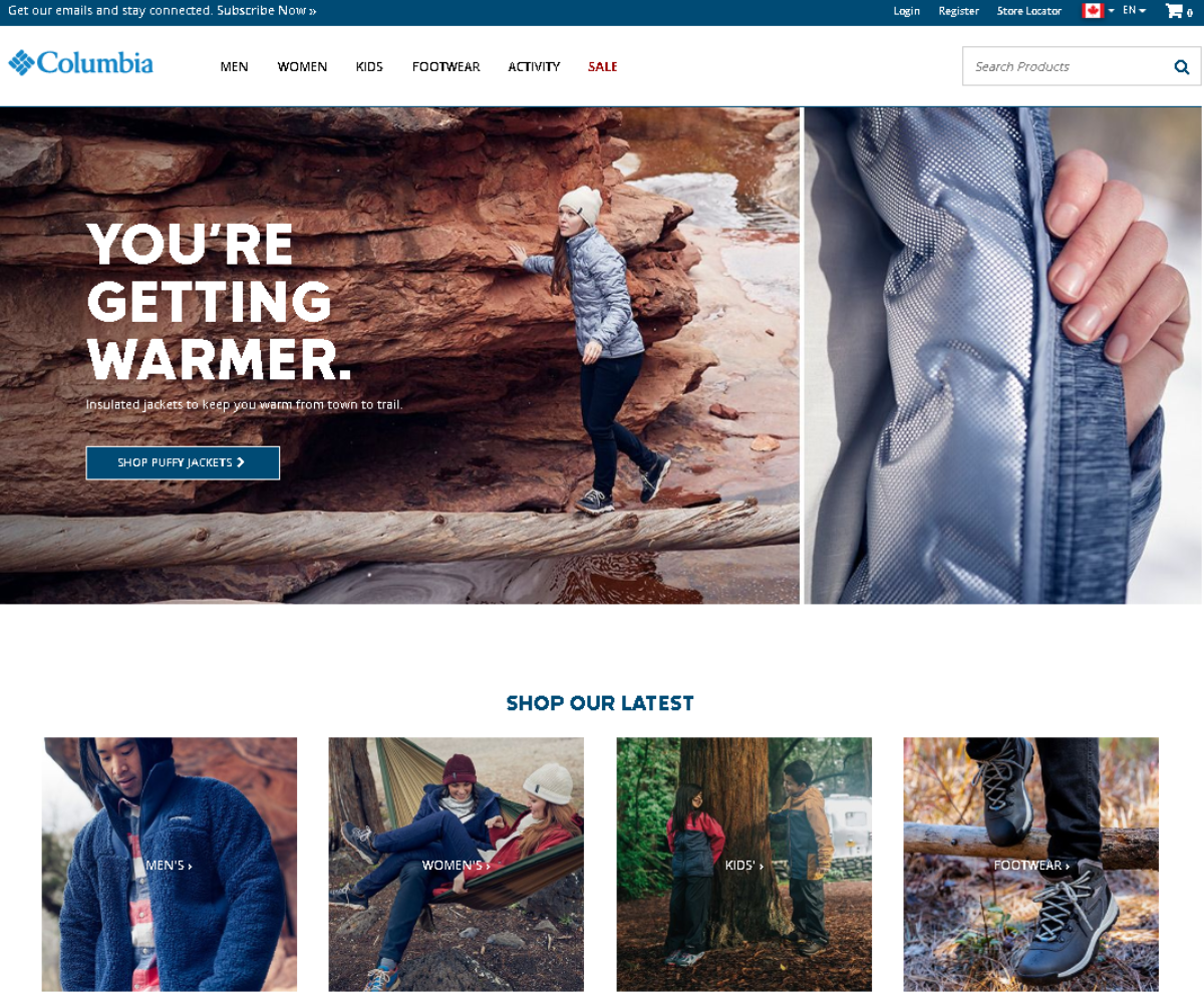 This a screenshot of the Columbia Sportswear website, an e-commerce store for outdoor fitness wear designed for colder climates. Categories show products available for men, women, kids and footwear.