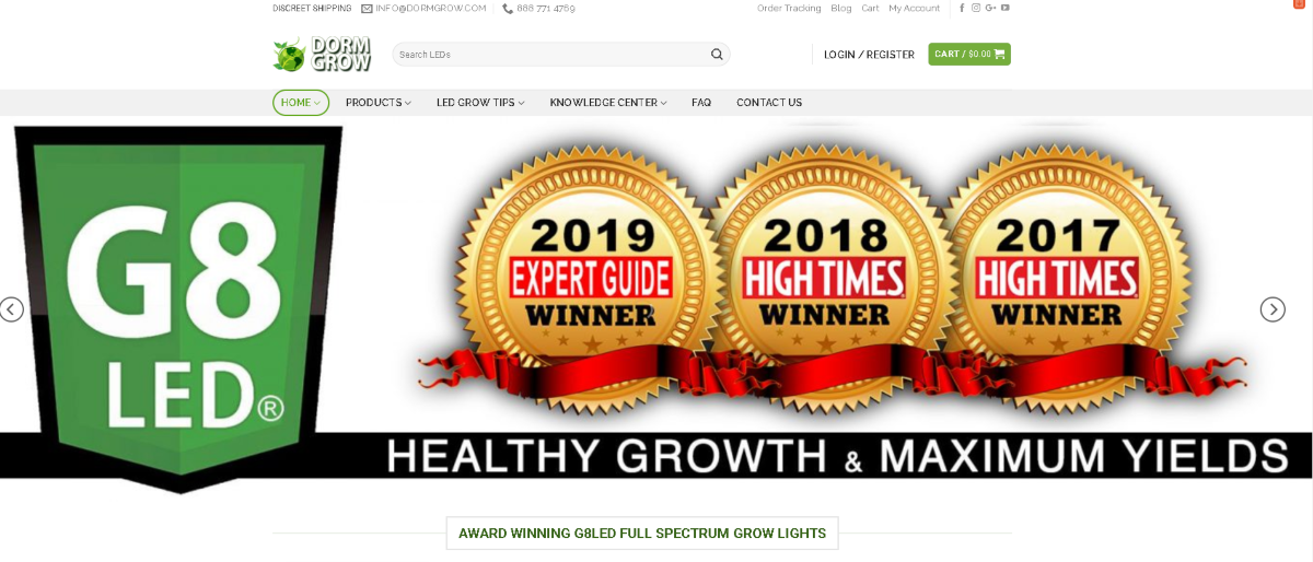 Screenshot of the Dorm Grow home page showing three awards they've won. 2017 and 2018 High Time Award Winners and 2019 Expert Guide Winner.