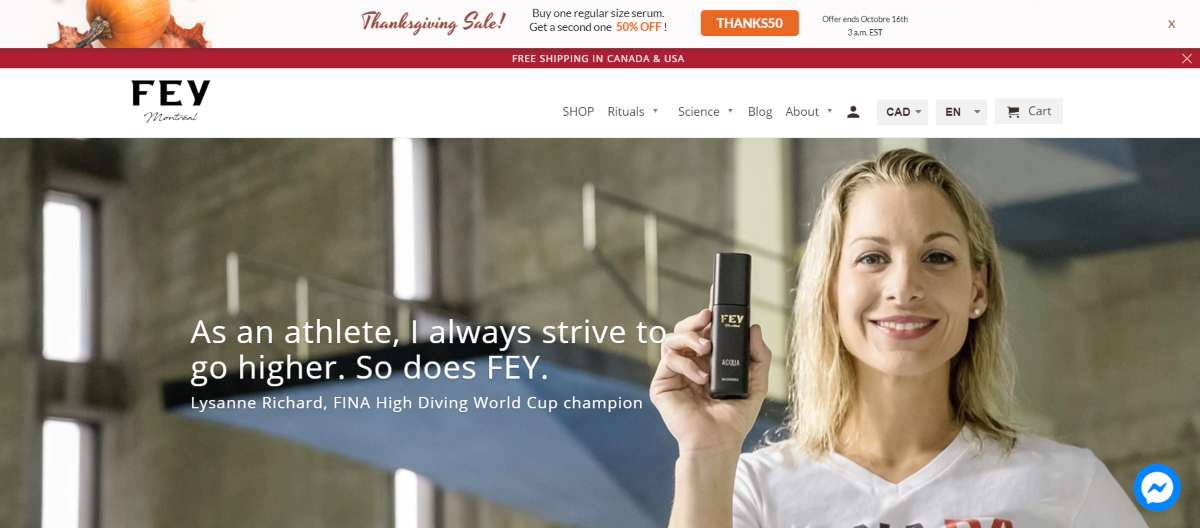 Screenshot of the Fey Cosmetics home page showing Lysanne Richard - an athlete - proudly holding a travel sized bottle of Fey Acqua.