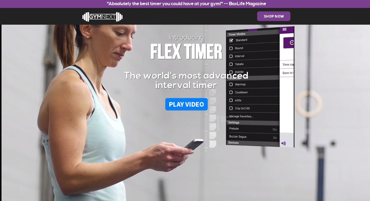 This is a screenshot taken of the Gymnext.ca home page, showing a woman in fitness gear using a smartphone (showing the screen and app features) of the Flex Timer that's exclusive to GymNext