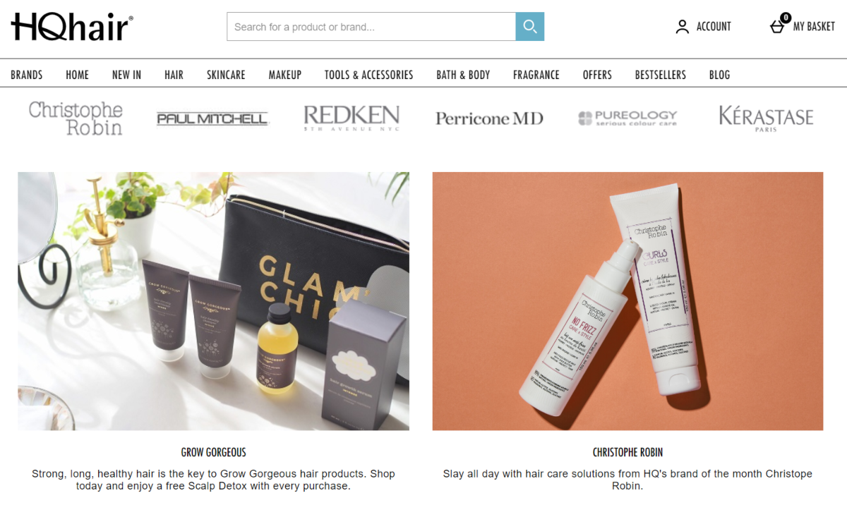 Screenshot of the HQ Hair website showing the beauty brands they stock including Christophe Robin, Paul Mitchell, Redken and Kerastase Paris beauty products.