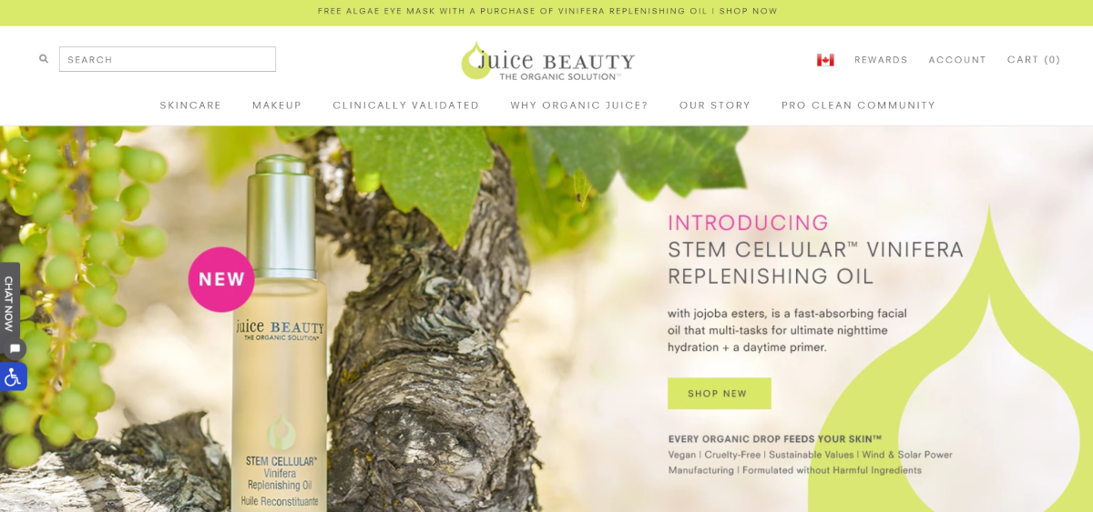 Screenshot of the JuiceBeauty.com home page showing various categories of skincare products available, all made with organic ingredients