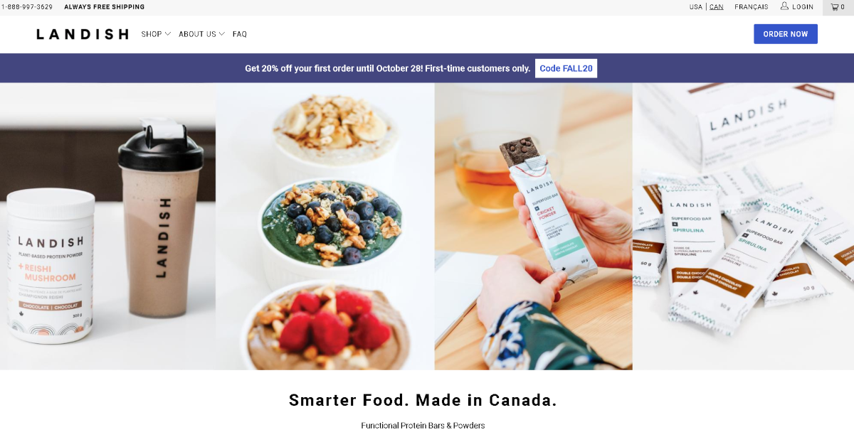 This is a screenshot taken from the Landish website showing their nutrition bars with cricket powder and protein powder jar with reishi mushroom. The products here are for healthier snacks at work.