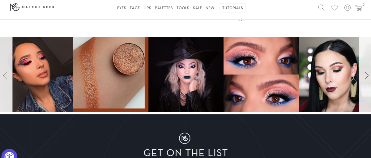 This is a screenshot of the Makeup Geek website showing a variety of looks people have created from using makeup, mascara, eyeliners and various other cosmetic products from MakeupGeek.com