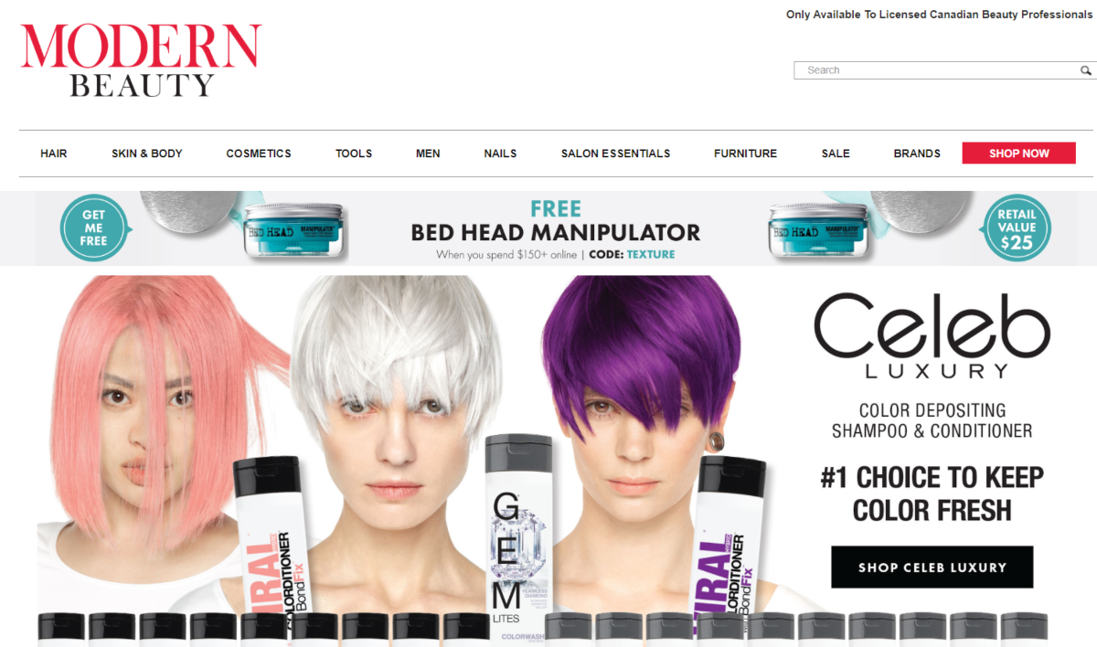 Screenshot of The Modern Beauty website showing the range of professional-grade products they have for salon owners, hairdressers and self-employed beauty professionals.