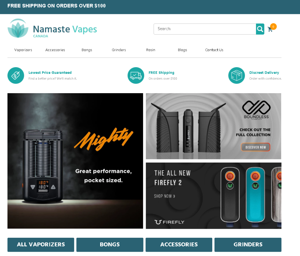 Screenshot of the Namaste Vapes home page showing five main categories for weed affiliates to promote. Vaporizers, accessories, bongs, grinders and rosin.