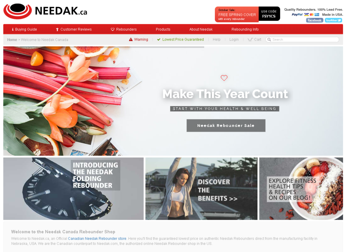 This is a screenshot of the Needak Canada store. A health and fitness website that manufacturers high quality rebounders in the US that sell through the Needak Canada store.