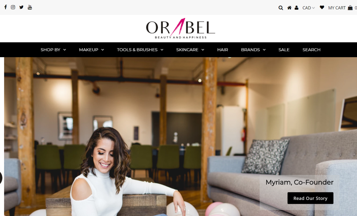 Screenshot of the Orabel beauty brands website featuring an image of the company's founder, Myriam.