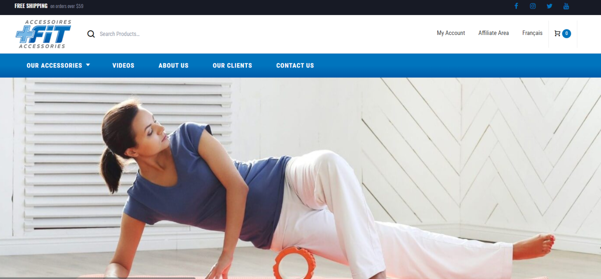 This is a screenshot of the Plus Fit home page showing a photo of a middle-aged woman exercising with a foam roller placed at her hip.