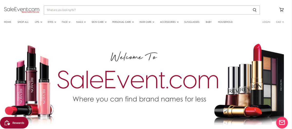 Screenshot of the Sale Event website showing a welcome message letting people know this is where to find name brand makeups for less.