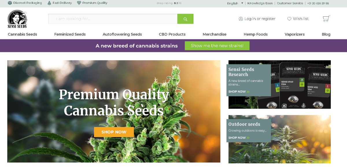 Screenshot of the Sensi Seeds website with a main photo of a cannabis plant and a section for customers to shop for outdoor seeds.