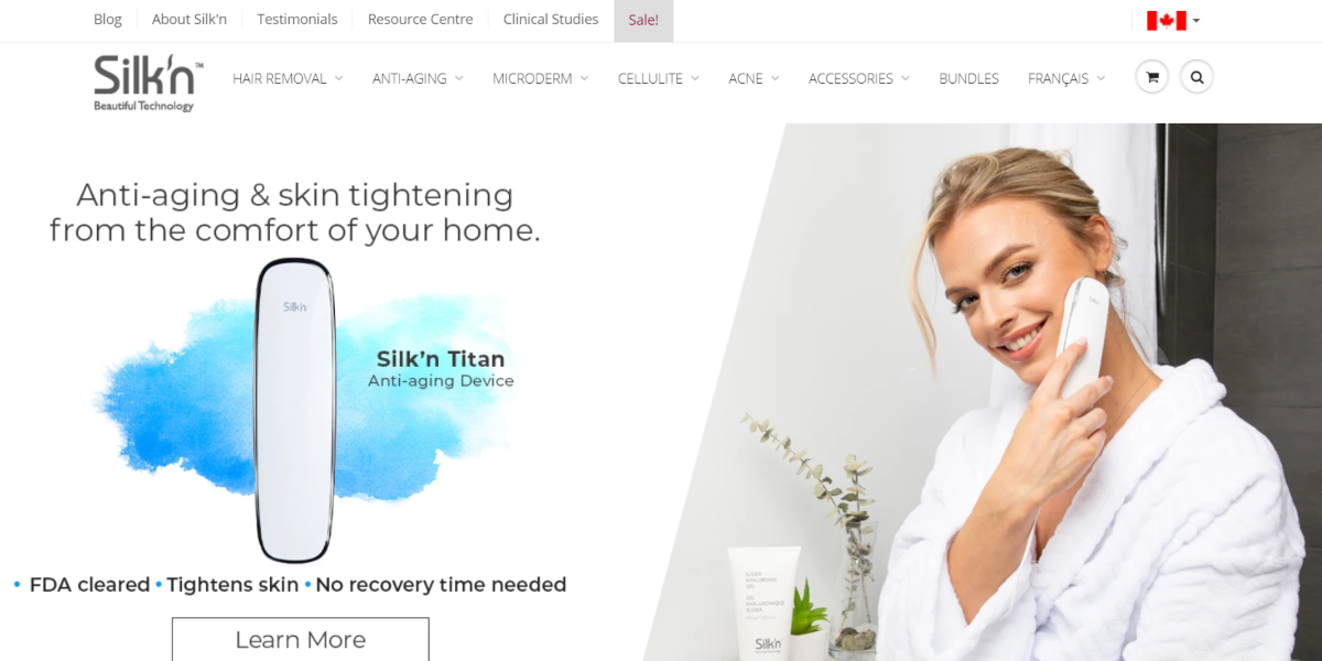 Screenshot of the Silkn website with a feature image of a woman using the Silk'n Titan skin tightening device.
