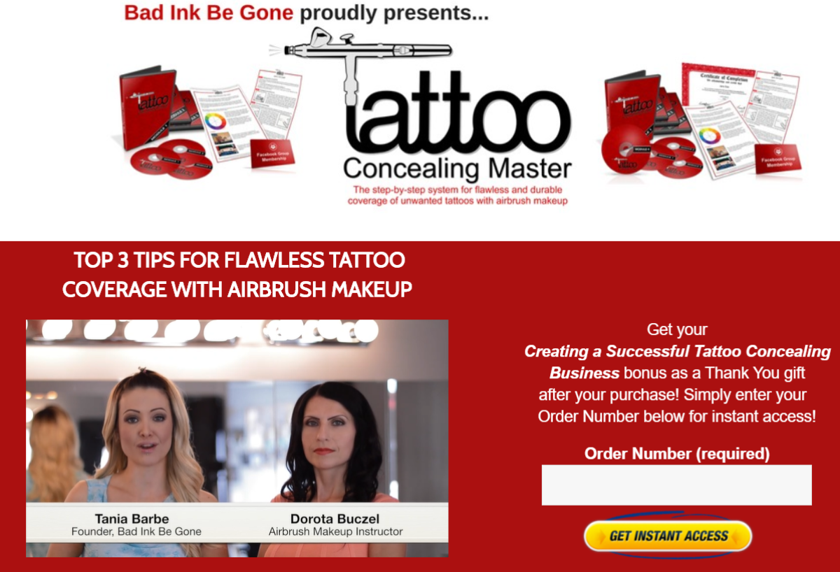 screenshot of the Tattoo Concealing Master course landing page showing Tania Barbe and Dorota Buczel on video to talk about tips for concealing skin blemishes using airbrush makeup.