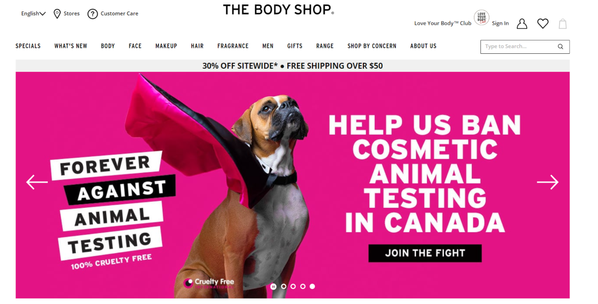 Screenshot of The Body Shop website showing they are against and campaigning to ban cosmetic animal testing in Canada.