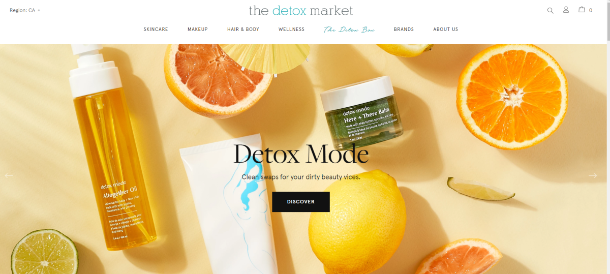 Screenshot of The Detox Market showing a range of natural ingredients including oranges and lemon along with some green beauty products including skin balms and Detox Mode oil.