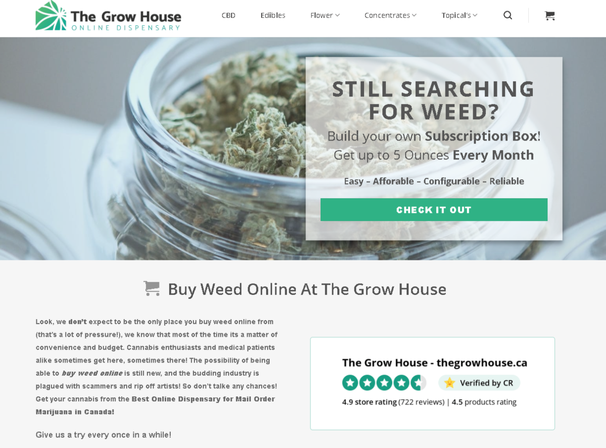 Screenshot of The Grow House Online Dispensary home page. The colors are soft and relaxing.