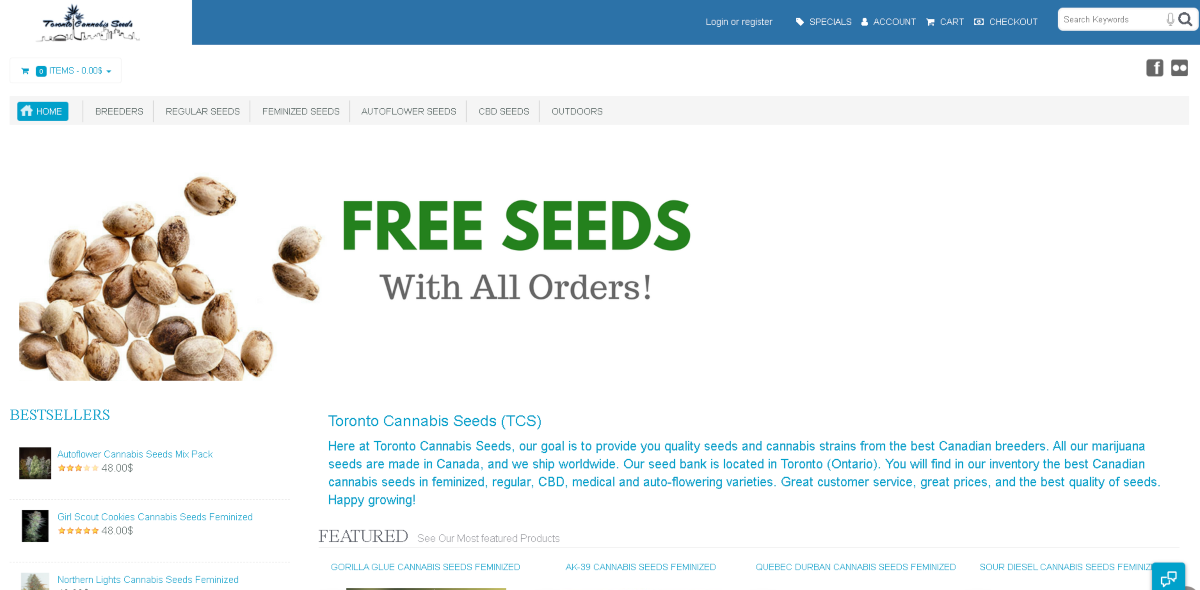 "Screenshot of the Toronto Cannabis Seeds website. In large text is ""Free Seeds With All Orders"" then a brief intro section about the company."