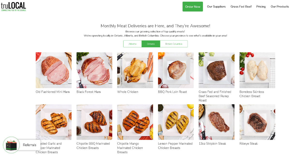 This is a screenshot of the products page on the Trulocal website showing some of their grass-fed meat range.