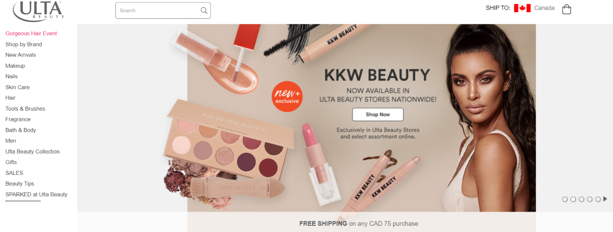 Screenshot of ULTA Beauty promotion page showing their new KKW Beauty range that's been released nationwide