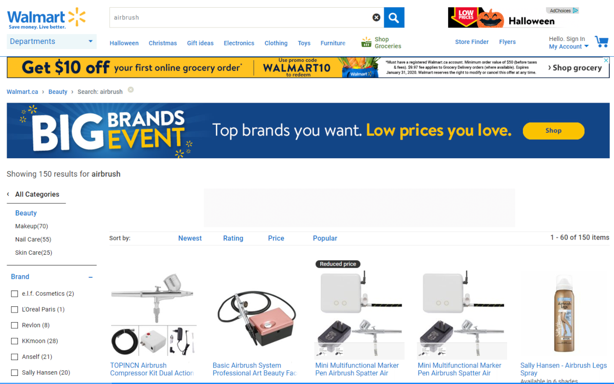 This is a screenshot showing a selection of airbrush equipment, makeup and leg sprays listed on Walmart.ca.