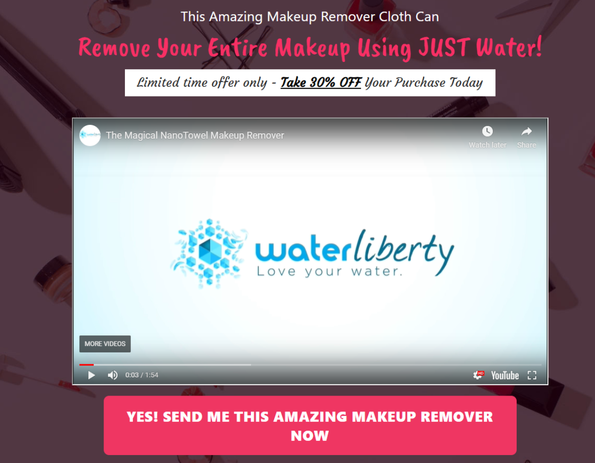 This is a screenshot of Water Liberty's dedicated offer page for a makeup remover cloth that uses Nano cloth technology to remove makeup with only water.