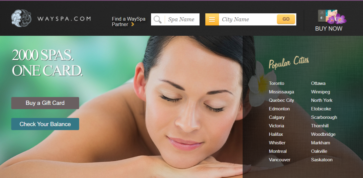 Screenshot of the WaySpa.com home page listing most major cities in Canada as popular among their list of spa retreats, located throughout Canada.