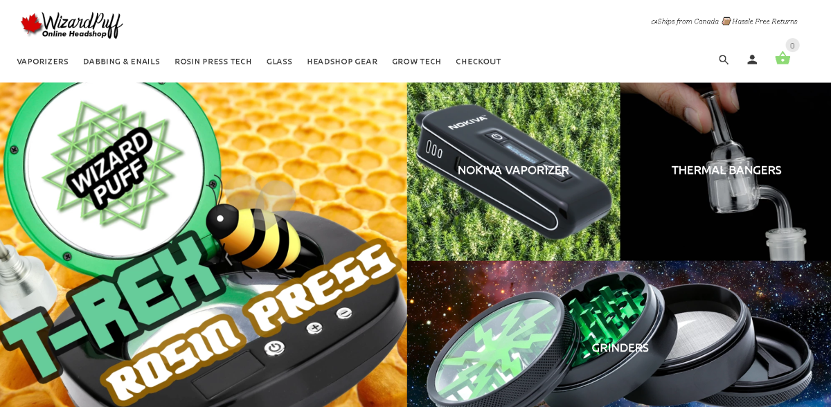 Screenshot of the Wizard Puff website, which is an online head shop with a range of accessories from vaporizers to grow lights.