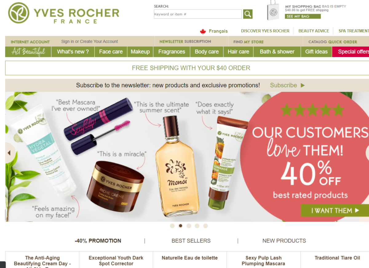 Screenshot of the Yves Rocher website that has one-click switching between English and Canadian French that sells organic beauty products to treat various skin conditions.