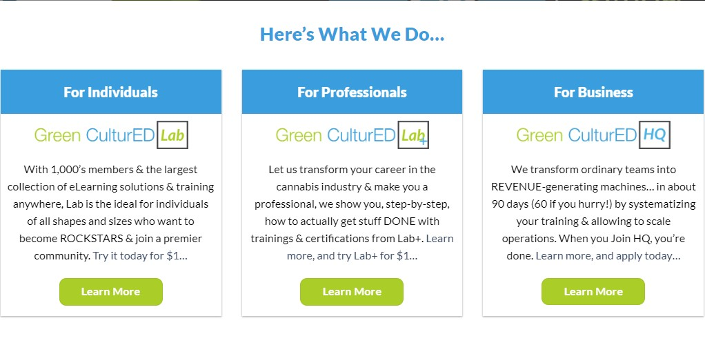 green cultured home page