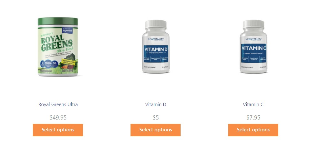 new vitality product category page