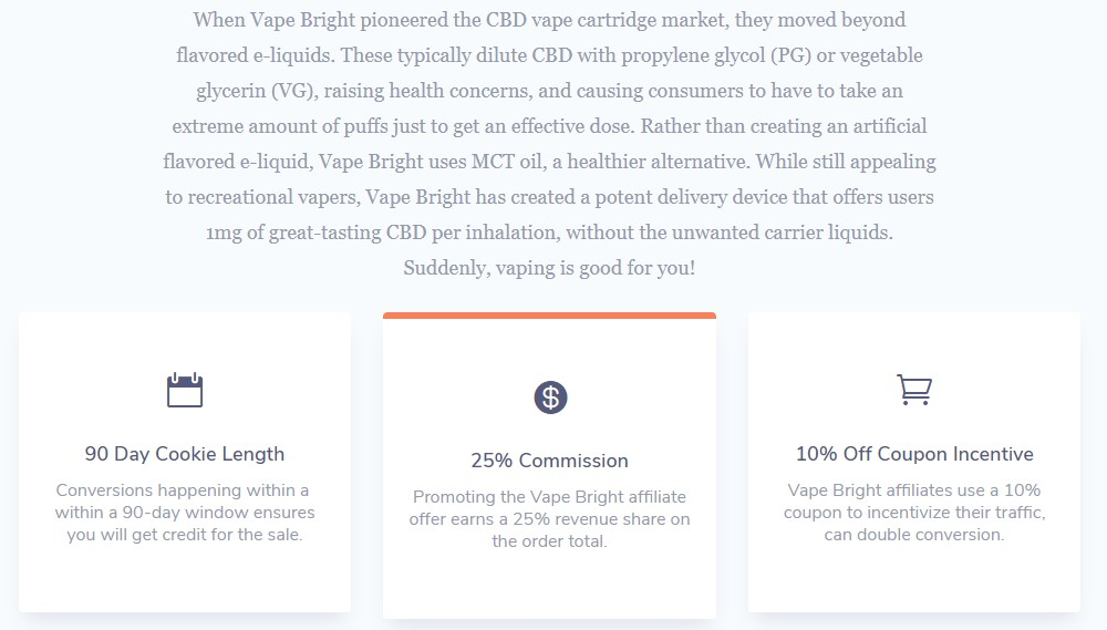 vape bright affiliate signup  page