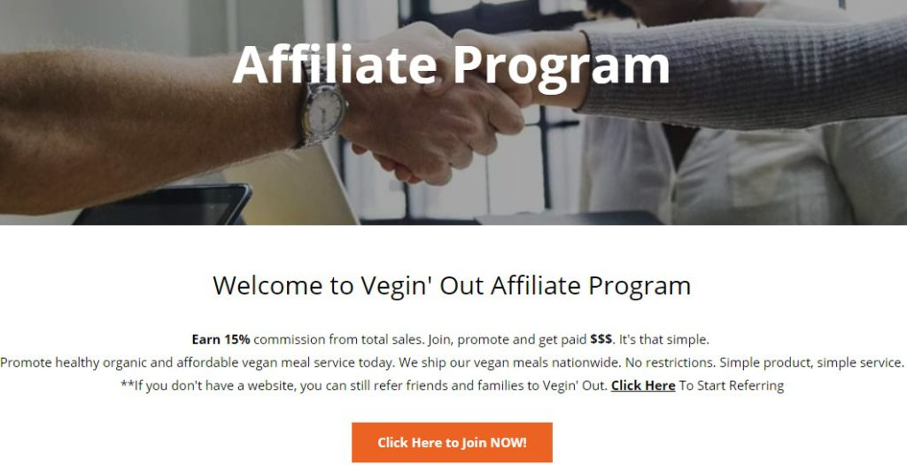 vegin out affiliate signup page