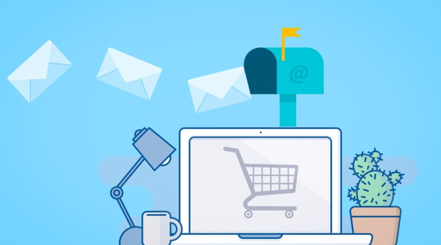 Picture shows an image of a laptop with a shopping cart on the screen, a traditional mailbox above it with a few email icons floating towards the inbox. The concept of the photo is to show the relationship between online shopping and reaching customers inboxes with email marketing.