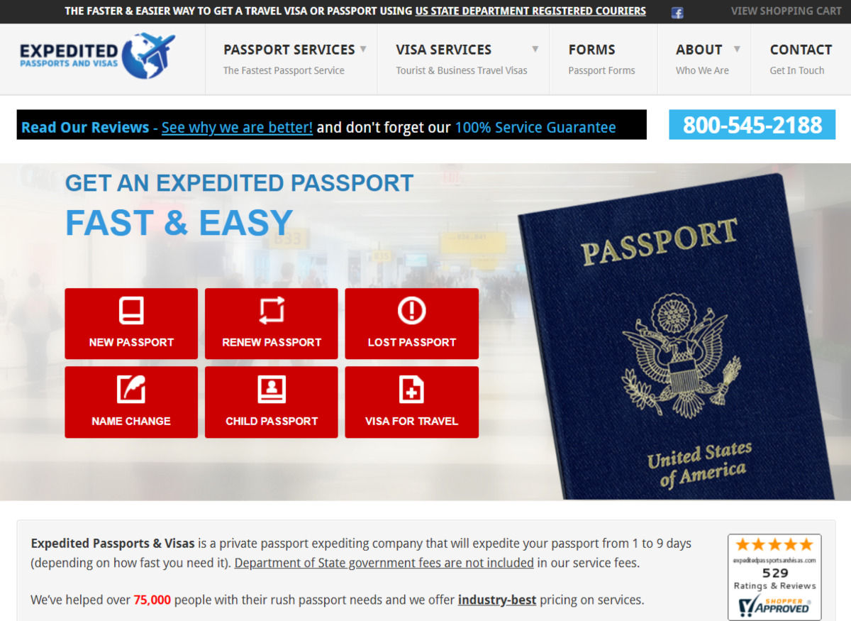 This is a screenshot of the ExpeditedPassportsandVisas.com website that provides a fast and easy to use passport and visa service for US citizens needing a foreign travel documents processed faster than usual.