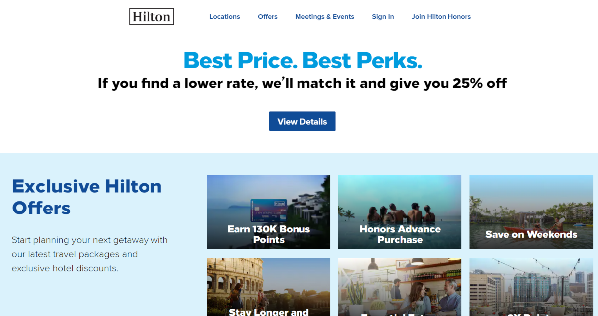 This is a screenshot of the Hilton.com website showing some exclusive Hilton offers and a best price guarantee.