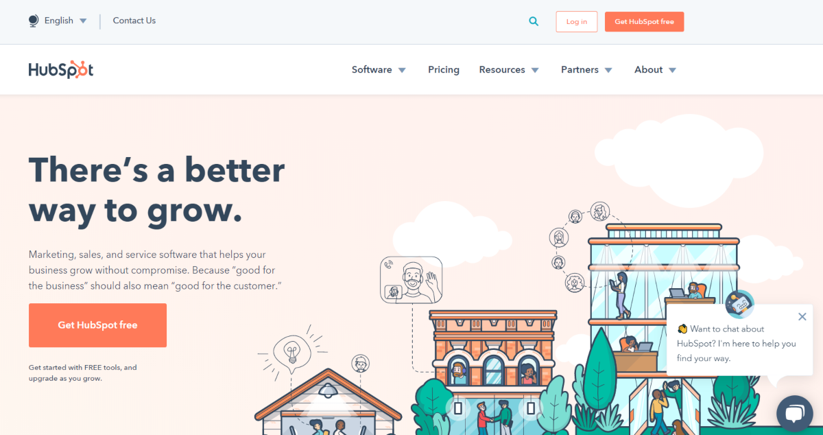 "This is a screenshot of the Hubspot.com website with their slogan ""There's a better way to grow"" and an example of marketing automation in the bottom left of the screen where they have the Hubspot chatbot appear."
