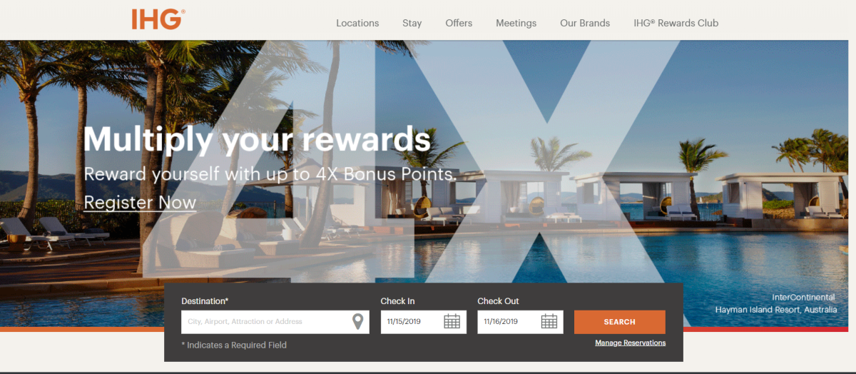 This is a screenshot of the IHG.com website with a photo of one of their resorts in Australia - the Hayman Island Resort.