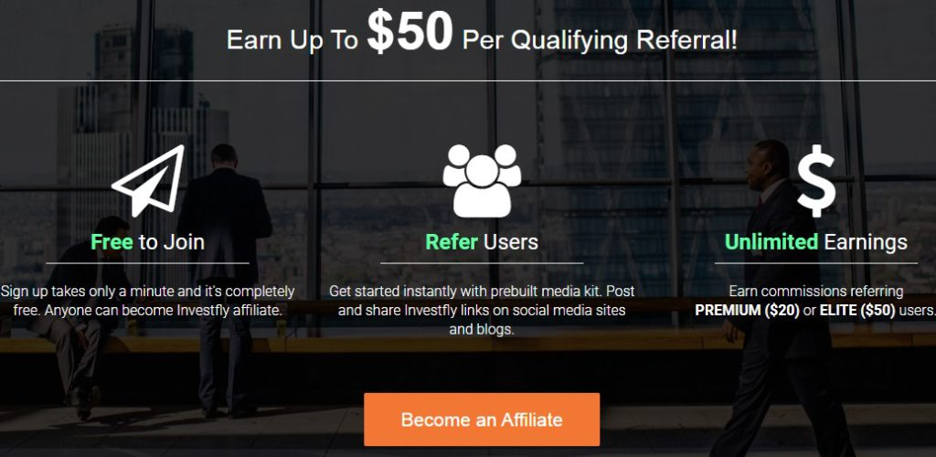 Investfly affiliate sign up page