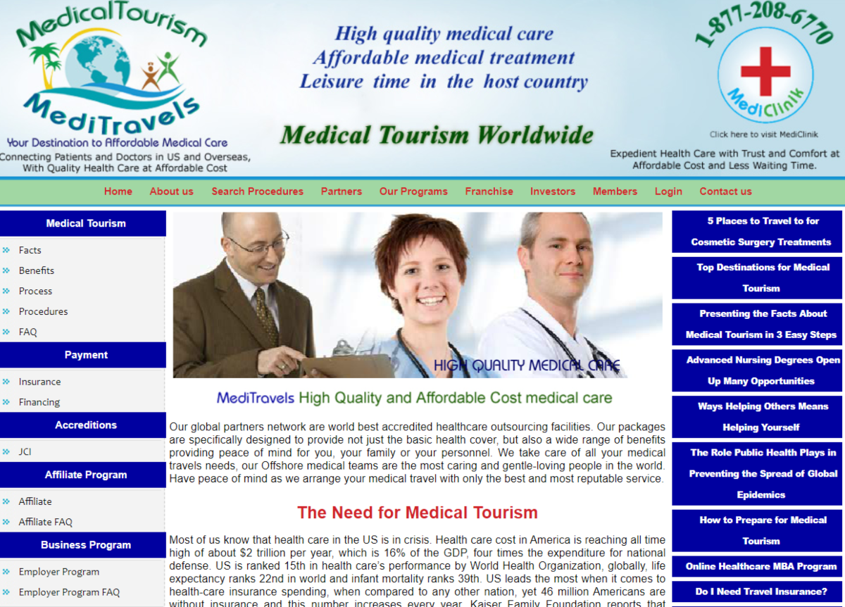 This is a screenshots of the MediTravels.org website showging a photo of a few medical professionals and text discussing the need for affordable medical tourism.