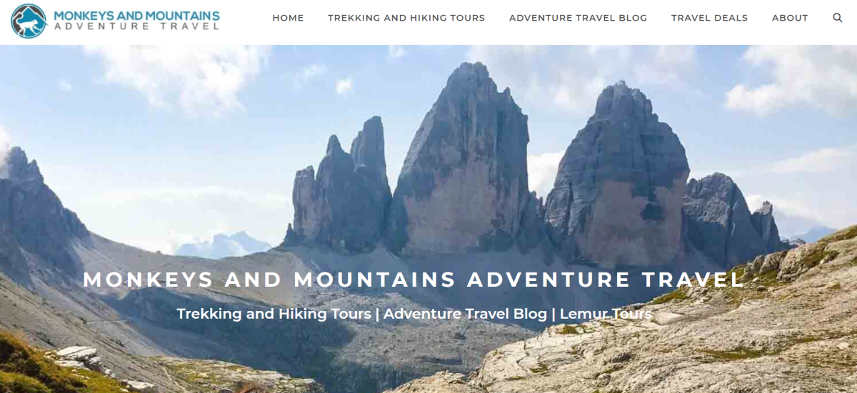 This is a screenshot is the Monkeys and Mountains website  - an adventure tour operator - that shows a photo of the Canadian Rockies.
