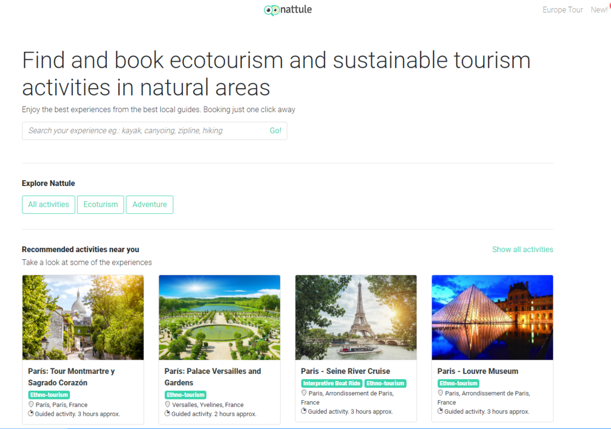 This photo shows a screenshot of the Natulle website - a marketplace for ecotourism and sustainable tourism activities and experiences in natural areas around the globe.