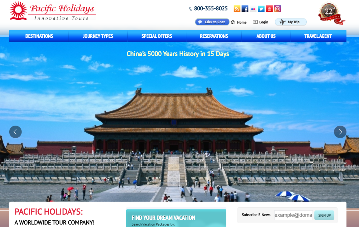 This is a screenshot of the Pacific Vacations website showing a photo of the Forbidden City - the former Chinese Imperial Palace in Beijing.