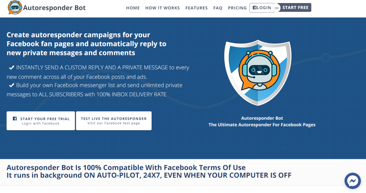 This is a screenshot taken from the pageautoresponder.com website, where people with Facebook Fan pages and business pages can use the Autoresponder Bot to manage Messenger campaigns.