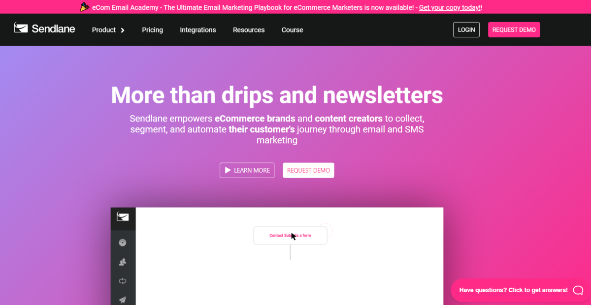 "This is a screenshot of a the Sendlane.com website with a bold headline statement that reads ""More than Drips and Newsletters"". The platform is for eCommerce brands and content creators to automate their marketing."