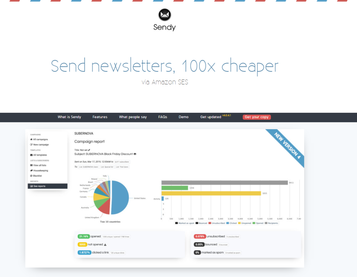 "This image shows  a screenshot of the Sendy.co website with the headline ""Send Newsletters, 100x Cheaper - via Amazon SES"", followed by a demo campaign report from the software dashboard."