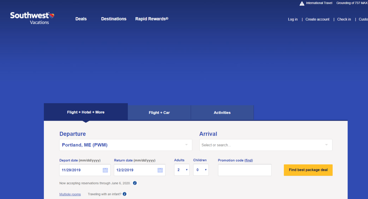 This is a screenshot of the Southwest Vacations website showing people can book flights, car hire, and activities together.