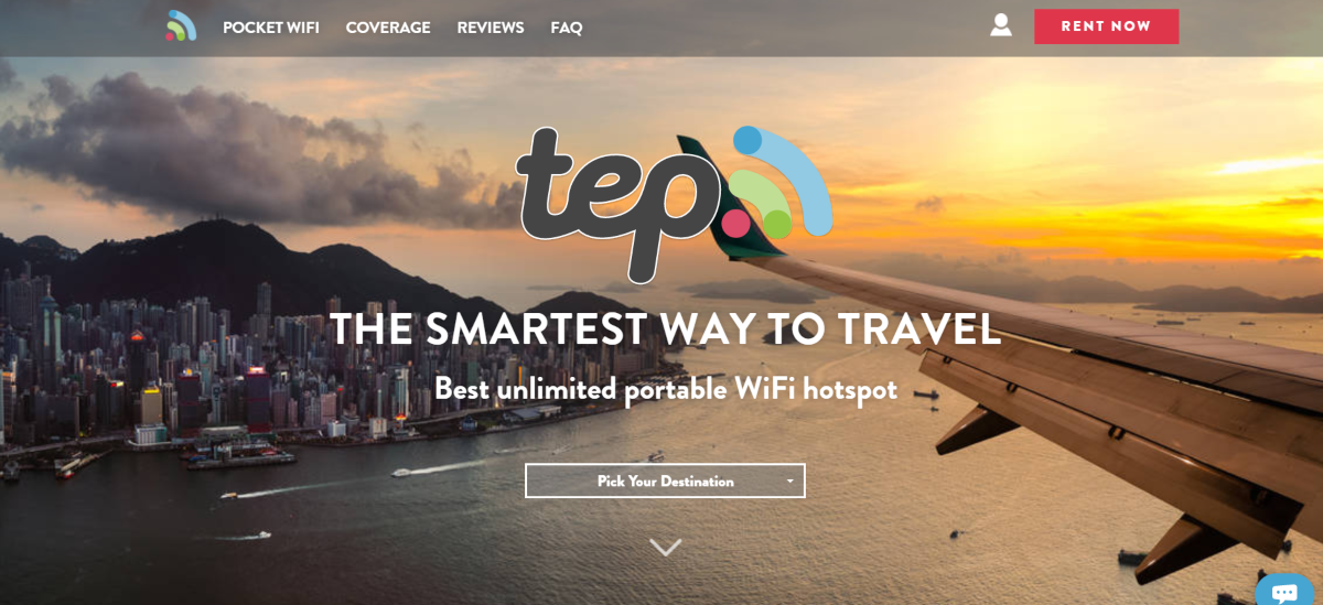 This is a screenshot of the official TEP website where vacationers can rent or buy portable Wi-Fi hotspot devices that work in over 100 countries.